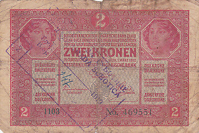"2 Korona With Contemporary Fake Stamp+ Cancellation""nespravna""""invalid""1919N.g"