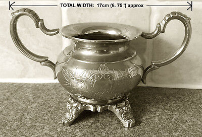 Vintage Silver Plated Metal Double Handled Small Sugar Bowl