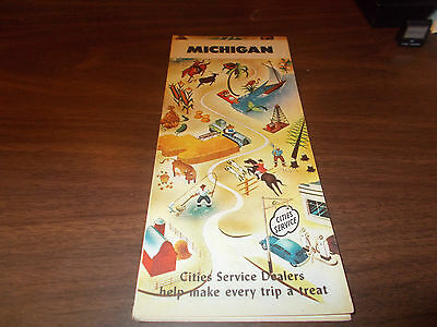 1947 Cities Service Michigan Vintage Road Map