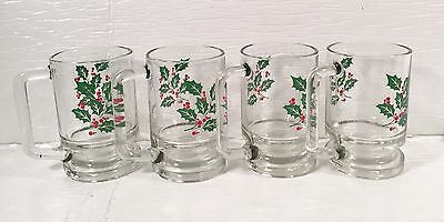 Set of 4 Holly Christmas Mugs w/Handle Weighted Pedestal Base
