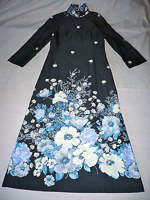 Vintage Retro Ladies 1970 Black Floral Maxi Dress Handmade Cocktail Dress 12