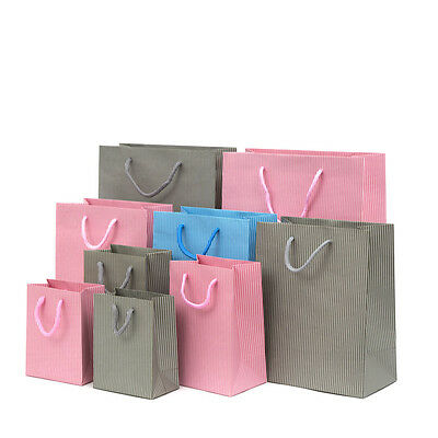Luxury Matt Stripe Pattern Paper Gift Bag Carrier Bag Party Bag with Rope Handle