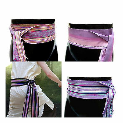 Guatemalan Textile Ikat Purple Bohemian Belt or Striped Violet Fabric Sash Belt