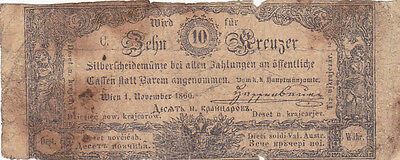 10 Kreuzer Vg Banknote From Austrian Empire 1860!!