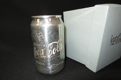 AWESOME SILVER COCA COLA AWARD ADVERTISING METAL CAN / DESK PEN HOLDER ~ in box