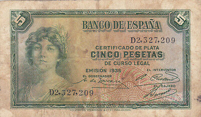 5 Pesetas Vg Banknote From Spain 1935!pick-85!