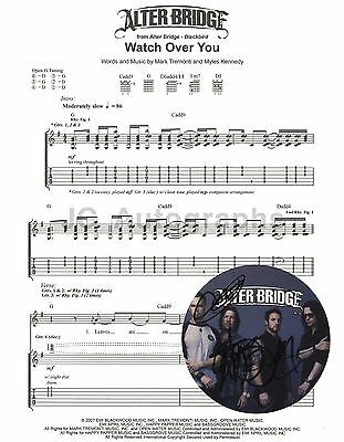 """Alter Bridge - American Rock Band - Autographed """"Watch Over You"""" Sheet Music"""