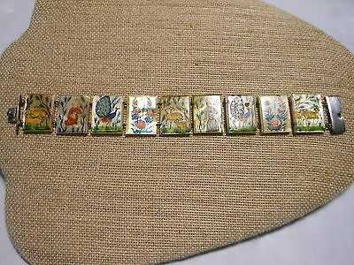 Vintage India Silver Painted Panel Shell Bracelet Antique Story Book