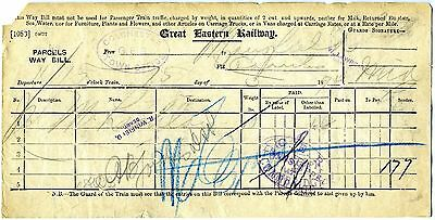 Great Eastern Railway Colchester Parcels Way Bill 1896