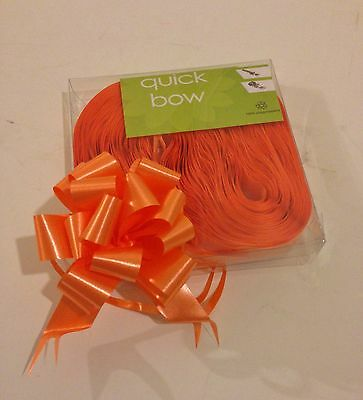 10 Orange Quick Bow Pull Ribbons 30mm Party Decorations Wedding Christening Xmas