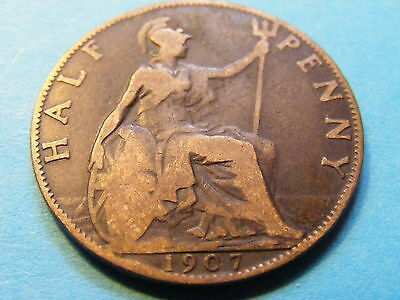 1907 Edward VII Half Penny  25mm Dia - good condition