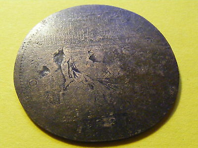 Flattened 1881 Victoria Penny Coin  - 36mm dia