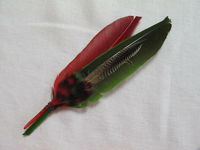 Antique Victorian Edwardian Red & Green Feather Hair / Hat Millinery Plume