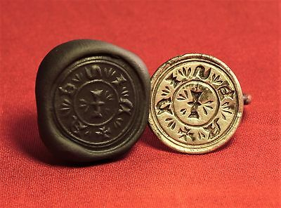 Very Rare Medieval Silver Knight's Seal Ring - 13. Century -NISEA SEAL -