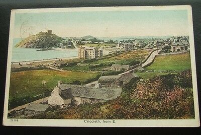 Postcard : Criccieth, from East : Cardiganshire, Wales : Posted 1906