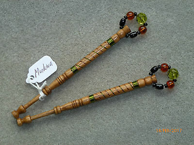 LACEMAKING LACE BOBBINS PAIR MUKWA WOOD - wired in olive