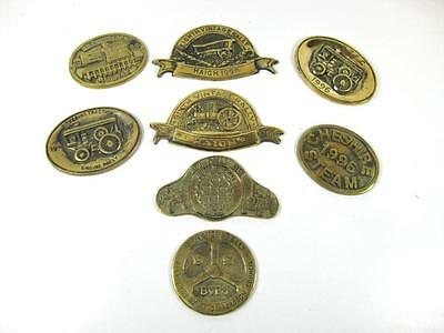 8 Solid brass plaques, tractor, steam rally, commemorative souvenir plaques