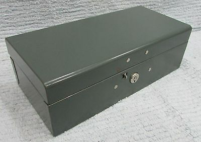 Old Oxford Industrial Metal Mid-Century 3x5x10 Gray Steel Document Box FREE S/H