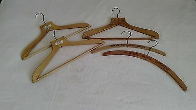 5 x Vintage Wooden Clothes/Coat Hangers - Burton, Dubois, Grand Hotel, Jay Bros