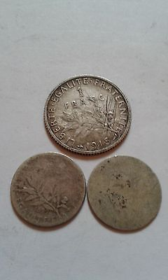 1915 Silver1 franc france +x2 5c (1899+napoleon iii) see details