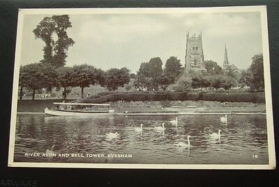Postcard : Real Photo, Evesham, River Avon & Bell Tower, Worcestershire Unposted