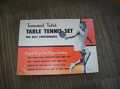 Vintage Tournament TestedTable Tennis Set #R 25/45 4 Paddles Net Ball & Laws