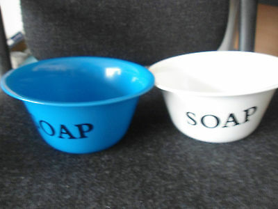 blue and white enamel soap  storage bowls x2