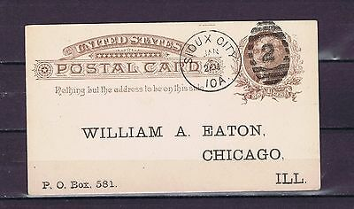 D3212 UNITED STATES 1886 postcard from Sioux city to Chicago