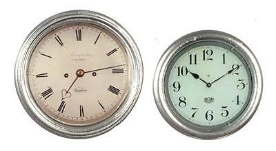 Miniature Dollhouse 1:12 Scale - Silver Colored Clocks - Set Of 2 - G7064