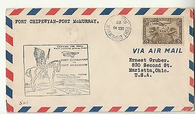 1929 CANADA A.MAIL Cover First Flight Fort CHIPEWYAN-FORT Mc.MURRAY+Indians-f366