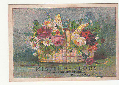 Misfit Parlors Providence RI Basket of Flowers Vict Card c 1880s
