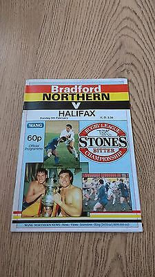 Bradford Northern v Halifax Feb 1989 Rugby League Programme