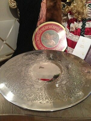 """ANTIQUE SPINNING RARE MARKINGS Dessert/Cake Stand SPECTACULAR 15 . 5 """" Early1900"""