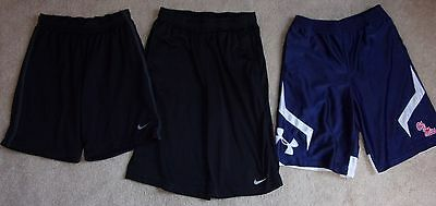 Lot of 3 Boy's Basketball Shorts Under Armour Ole MIss, Black Nike M/L/XL