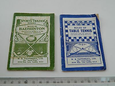 The Sports Trader Rules of Table Tennis and Badminton W B Tattersall