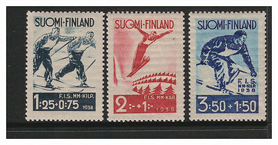 Suomi Finland 1938 Skiing Contest Lahti Set Of 3  Mint Never Hinged Mnh