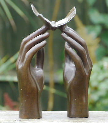 Releasing Butterfly Stunning Unique Pure 100% Bronze Contemporary Sculpture
