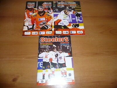 Sheffield Steelers Ice Hockey Programme - set of 3 - Pristine condition -2014/5