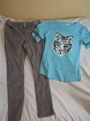 Justice / Gap Kids Girls Size 14 Tiger Sequin Top / Gray Sparkle Pants Outfit