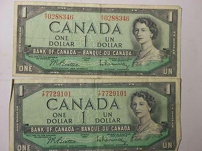 TWO 1954 ONE DOLLAR NOTE BANK OF CANADA SERIAL #'S 7729101,0288346 # glcw