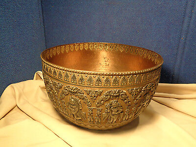 **STUNNING**  Large Antique Brass Bowl *INDIA* Indian Exceptional High Relief