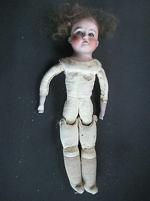 "c.1900 UNKNOWN MAKER 13"" BISQUE HEAD  DOLL -MARKED 12/0,LEATHER BODY,CLOTH FEET"