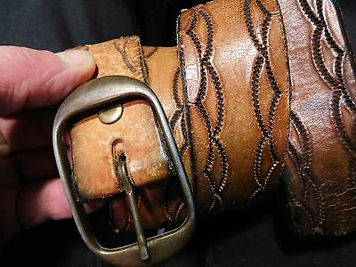 Vtg Distressed Leather Brass Buckle Tooled Leather Work Belt 1 1/2 Thick 31-32