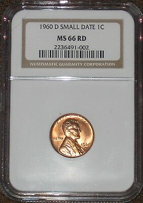 1960 D Small Date Lincoln Memorial Penny Cent NGC Grade MS 66 RD Lincoln RED