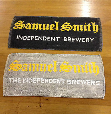 2 x VINTAGE SAMUEL SMITH BAR TOWEL BEER CLOTHS MATS RETRO MANCAVE PUB LAGER
