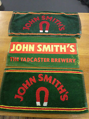 3 x VINTAGE JOHN SMITHS BAR TOWEL BEER CLOTHS MATS RETRO MANCAVE PUB LAGER