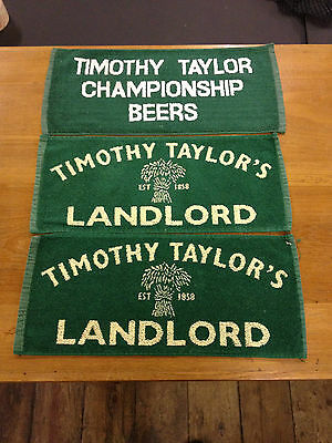 3 x VINTAGE TIMOTHY TAYLOR BAR TOWEL BEER CLOTHS MATS RETRO MANCAVE PUB LAGER
