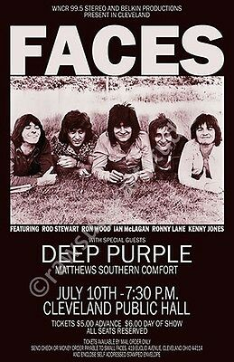 Faces / Small Faces / Deep Purple 1971 Cleveland Concert Poster