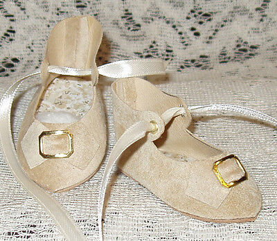 "French Style Leather Doll Shoes for 2 5/8"" foot x 1 1/4"" ~ Ecru Suede"