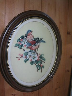 Vintage Needlepoint - Petit Point Birds In Oval Wood Frame Glass 16 1/4 X 13 1/2